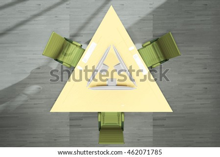 Top view of abstract yellow triangular office table with three computer monitors and green swivel-chairs on grey wooden floor background. 3D Rendering