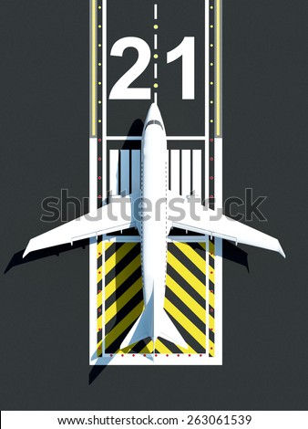 Top View of Airplane Waiting on Airport Runway. Passenger Airliner of My Own Design - stock photo