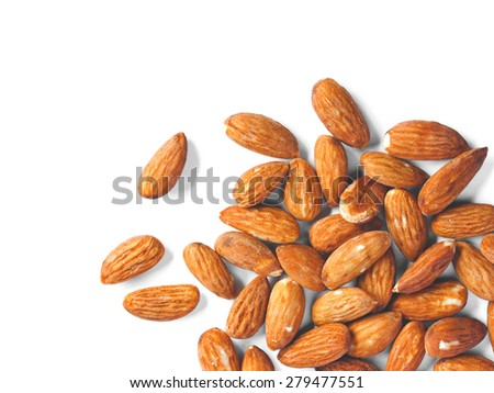 top view of almonds over white background - stock photo