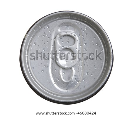 Top view of aluminum can. Isolated. - stock photo