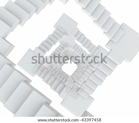 Top view of an abstract white staircase, 3d - stock photo
