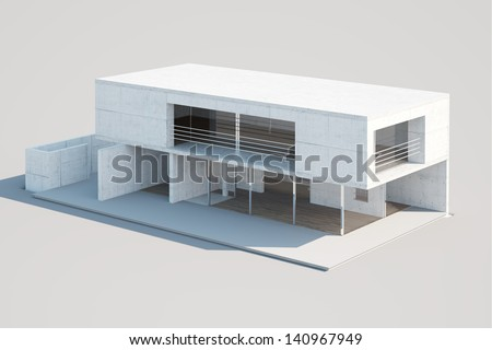 Top view of an architectural mock-up of a modern residential building made of paper. Illustrates house design, process of building a house. - stock photo