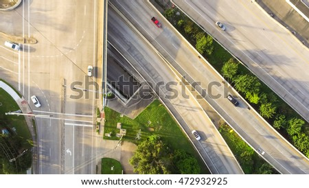 Top view of an asphalt elevated highway in houston texas us many