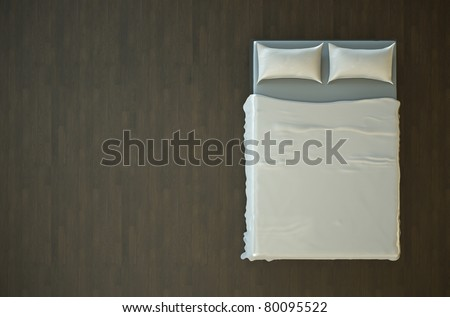 Top view of an empty bed with white bedding. 3D render. - stock photo
