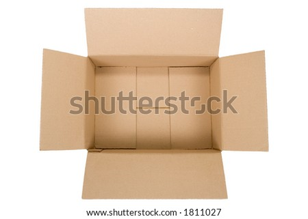top view of an empty cardboard box isolated on white background - stock photo