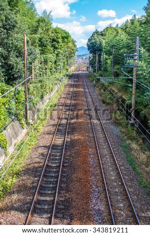 top view of an empty railroad in the vegetation