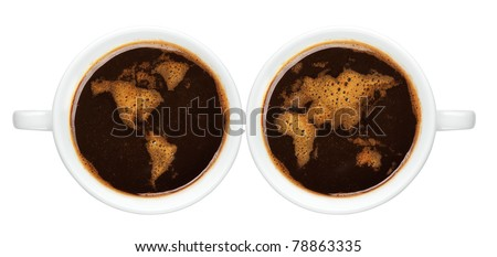 Top view of an isolated cup of coffee with worldmap made of bubbles - stock photo