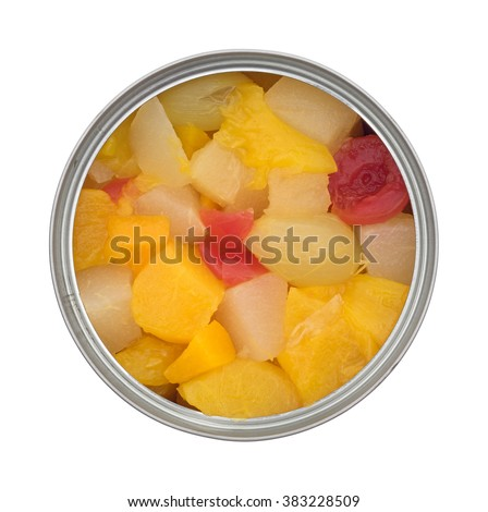 Top view of an opened can of fruit cocktail isolated on a white background. - stock photo