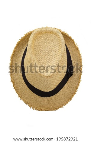 Top view of antique straw hat on white background  - stock photo