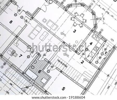 top view of architectural drawing.