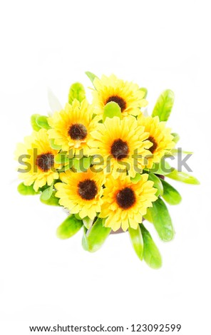 Top view of artificial sunflower bunch isolated on white background. - stock photo