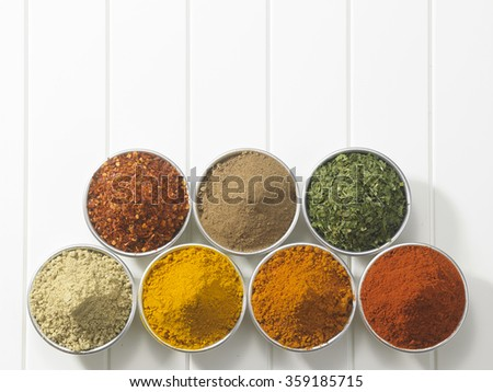 top view of assorted spices in  bowls - stock photo