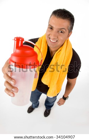 Top view of athlete with bottle - stock photo