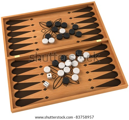 Top view of backgammon with chips and dice over white