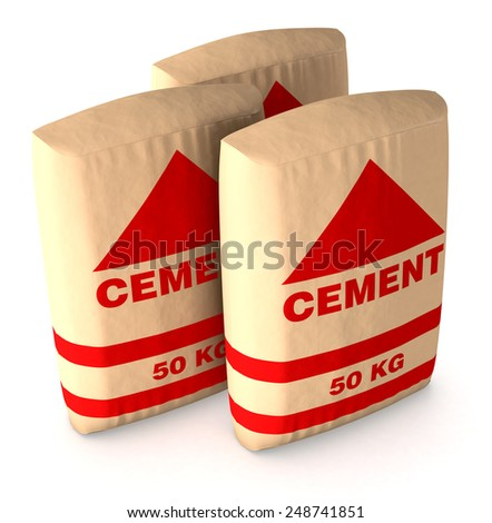 top view of bags of cement on white background (3d render) - stock photo