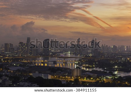 top view of bangkok city sunrise in the morning