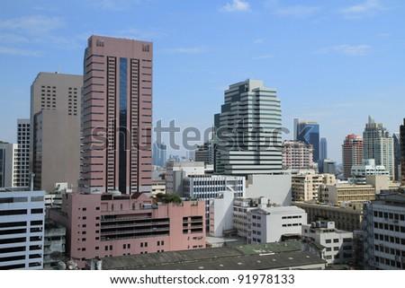 Top view of Bangkok landscape, Thailand - stock photo