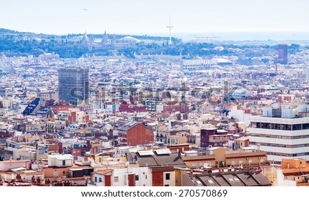Top view of Barcelona and Mediterranean Sea. Catalonia, Spain - stock photo