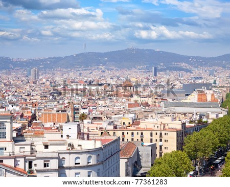 Top view of Barcelona from Columbus statue. Spain - stock photo