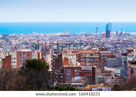 Top  view of Barcelona from high point. Spain - stock photo