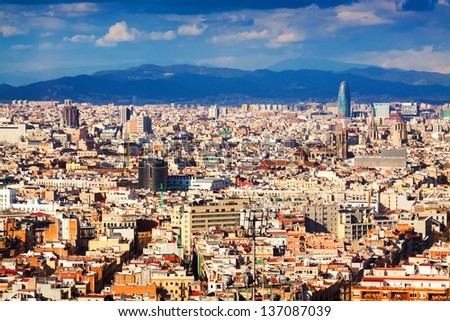 Top  view of Barcelona from Montjuic hill in cloudy day. Catalonia - stock photo