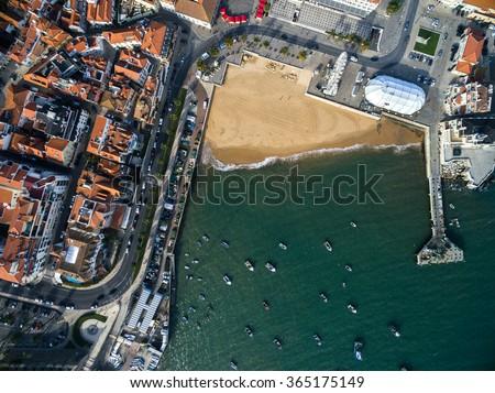 Top View of Beach, Cascais, Portugal - stock photo