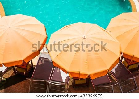 top view of beautiful swimming pool - stock photo
