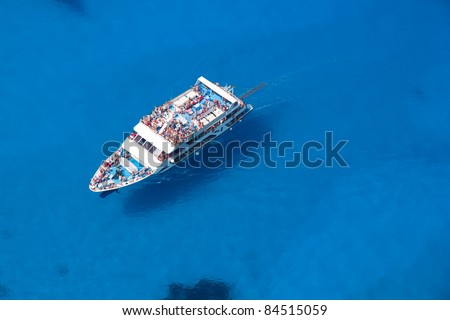Top view of Big cruiser sailing - stock photo
