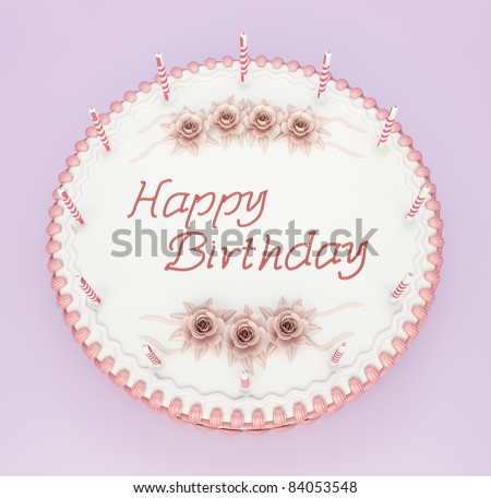 Top view of birthday cake with candles and roses with greetings words - stock photo