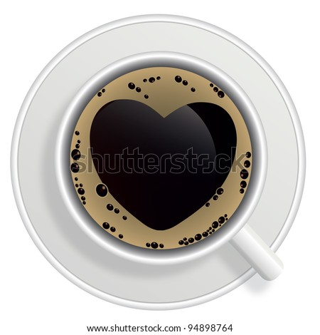 Top view of black coffee cup isolated on white background. Photo-realistic raster version. - stock photo
