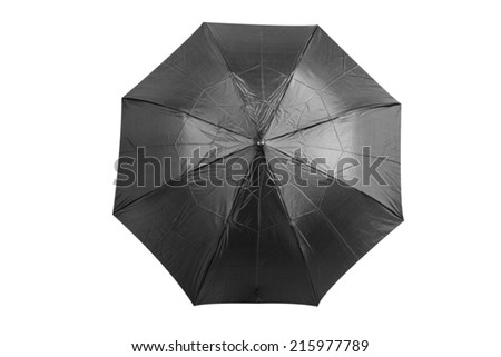 Top view of black umbrella isolated on white background with clipping path - stock photo