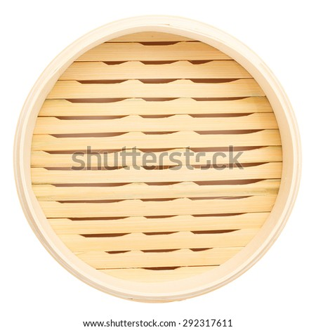 Top view of blank bamboo steamer isolated on white background - stock photo
