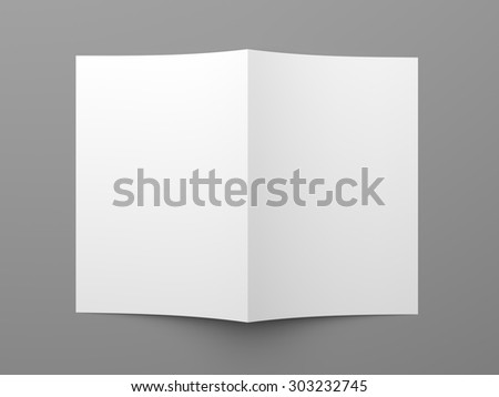 Top view of blank folded flyer, booklet, business card or brochure mockup template on grey background - stock photo
