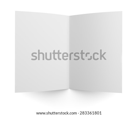 Top view of blank folded flyer, booklet or brochure mockup template isolated on white background - stock photo
