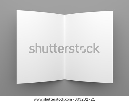 Top view of blank folded flyer, booklet or brochure mockup template on grey background - stock photo