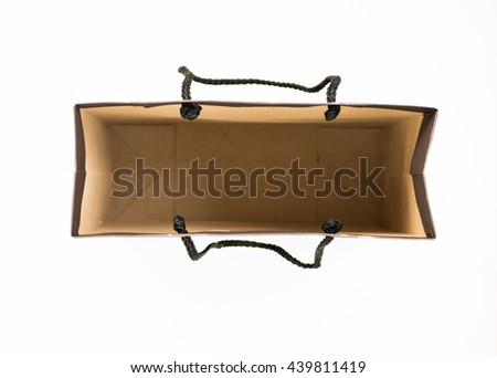 Top view of blank inside  paper bag isolated on white background. - stock photo