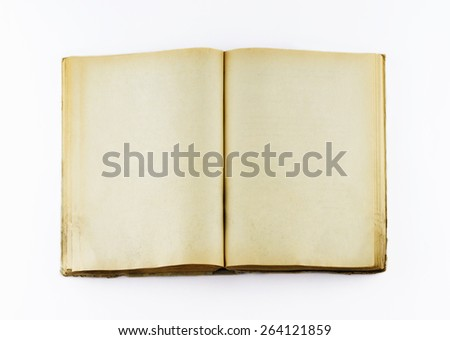 Top view of blank open old book with grange pages on white background