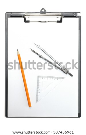 Top view of blank paper on clipboard with a pencil, drawing compass and triangle ruler, isolated on white background.