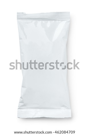 Top view of blank plastic snack package isolated on white