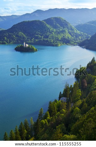 Top view of Bled Lake in Slovenia - stock photo