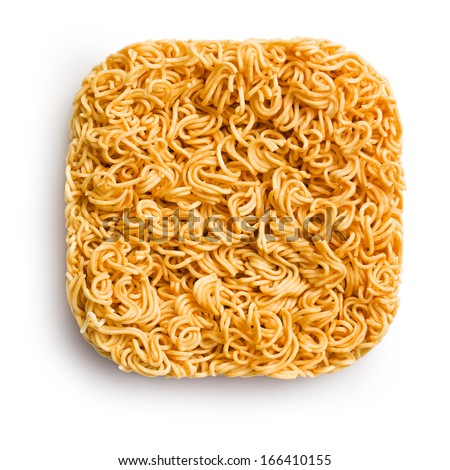 top view of block of dried chinese noodles on white background