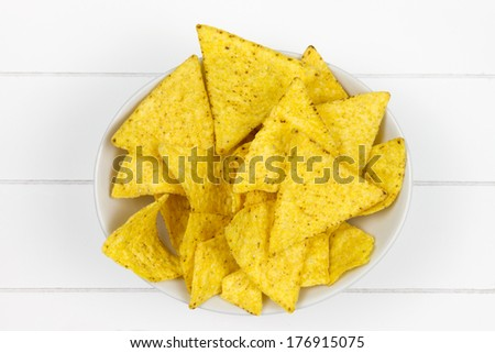 top-view of bowl filled with tortilla chips on white wooden surface