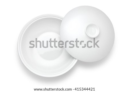Top view of bowl with lid on white background - stock photo