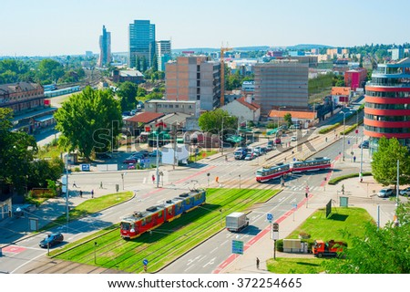 Top view of Brno downtown, Czech Republic - stock photo