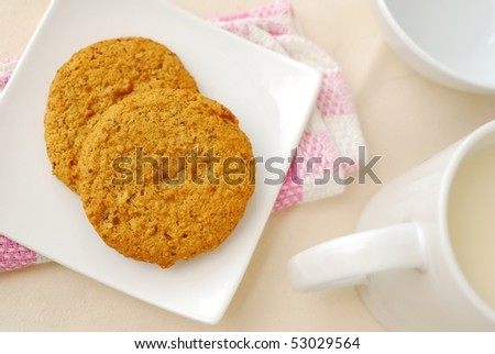 Top view of brown cookies for breakfast. Concepts such as food and beverage, diet and nutrition, and healthy lifestyle. - stock photo