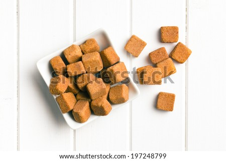 top view of brown sugar cubes - stock photo