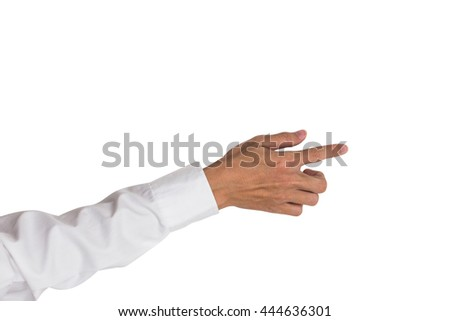 Top view of business man hand pointing something in virtual space, isolated on white background. - stock photo