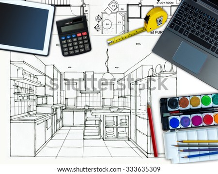 Top view of Business office table with home decoration and renovation concept  over Pantry perspective view background - stock photo