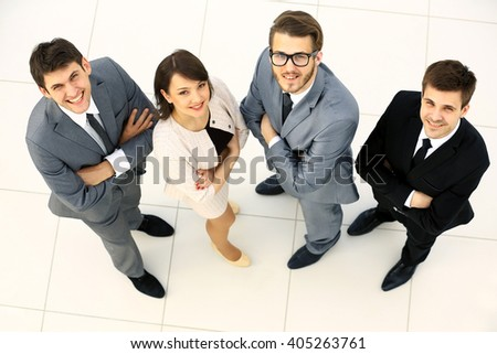 Top view of business people - stock photo