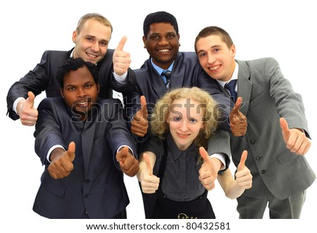 Top view of business people with their hands together - stock photo